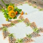 Asztalközép terítő - Orgonás, narancs színű