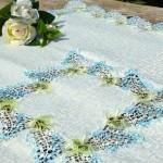 Asztalközép terítő - Orgonás, kék színű