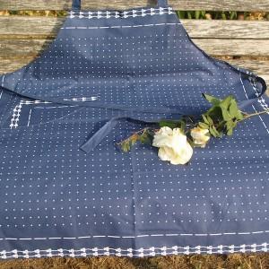 Kékfestő konyhai kötény - apró pöttyös mintával