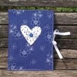 Kékfestő szivecskés napló - virág mintás kékfestő