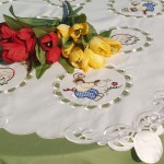 Húsvéti asztalközepek - hímzett, nyomottmintás