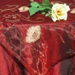 Asztalközép - organza, hímzett pipacsos
