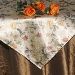 Asztalterítő - barna taft virágos selyemmel