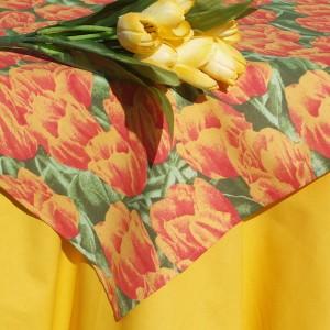 Tulipános asztalterítő - narancsszínű tulipán