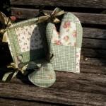 Kenyérkosár és kesztyű - zöld patchworkos
