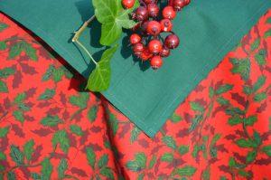 Karácsonyi asztalterítő piros - borostyános terítő