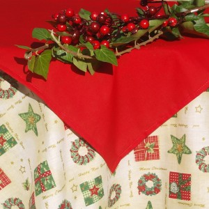 Karácsonyi asztalterítő krém - adventi koszorús