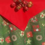 Karácsonyi asztalterítő zöld - adventi koszorús
