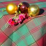 Karácsonyi asztalterítő - Kockás szövött mintával