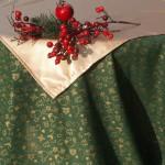 Karácsonyi asztalterítő - zöld, arany holdas