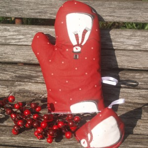 Karácsonyi edényfogó kesztyű - piros hóemberes