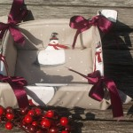 Karácsonyi kenyérkosár - hóemberke mintával