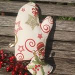 Fehér-bordó edényfogó kesztyű - karácsonyfa mintás