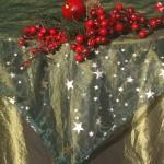 Karácsonyi terítő zöld - arany csillagos organza