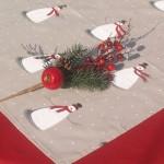 Karácsonyi terítő nyers színű - hóemberes asztalközép