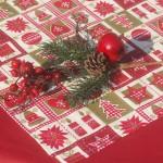 Karácsonyi terítő bordó - karácsonyi mintás