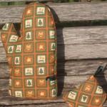 Kockás karácsonyi edényfogó kesztyű - narancsos színű
