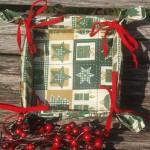 Karácsonyi kenyérkosár - zöld karácsonyi mintával