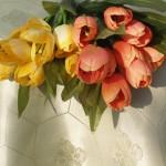 Teflonos damaszt abrosz - almazöld színben