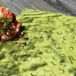 Asztalközép - mohazöld színű/a