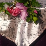 Rózsaszín asztalközép - nyomott mintás terítő