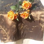 Asztali futó - barna hímzett