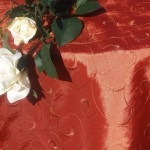 Gyűrt taft asztalterítő - mediterrán, inda mintás