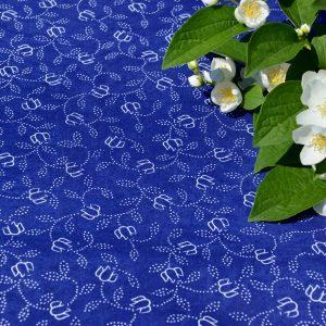 Kékfestő abrosz - sűrű virágmintás terítő