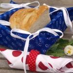 Margarétás kékfestő kenyérkosár