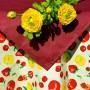 Gyümölcsös asztalterítő - sárga alapon epres