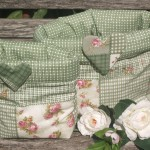 Zöld tárolózsák - patchwork mintával