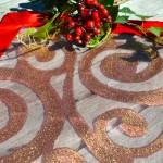Karácsonyi asztali futó piros - organza terítő