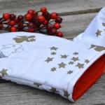 Karácsonyi edényfogó kesztyű - fehér, arany angyalkás