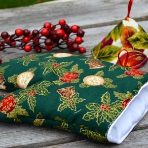 Karácsonyi edényfogó kesztyű - rusztikus zöld