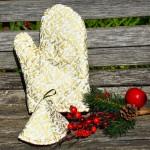 Karácsonyi edényfogó kesztyű - fehér, arany indás
