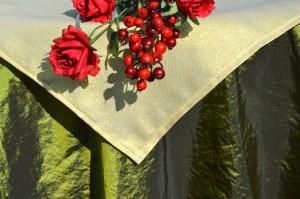 Karácsonyi asztalterítő zöld - arany lurex