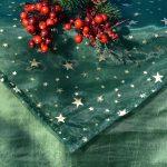 Karácsonyi asztalterítő zöld - zöld organzával