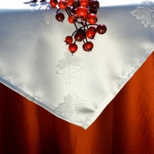 Karácsonyi asztalterítő narancs - ezüst középpel