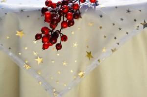 Karácsonyi asztalterítő - krémszínű taft II.