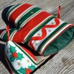 Karácsonyi edényfogó kesztyű - csíkos mintás