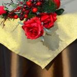 Karácsonyi asztalterítő barna - arany lurex középpel