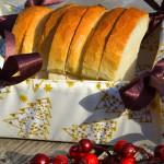 Karácsonyi kenyérkosár - fehér, arany fenyős