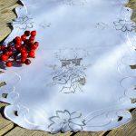 Karácsonyi asztali futó - fehér, ezüst gyertyás