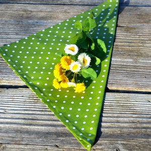 Textil szalvéta pöttyös - zöld fehér pöttyös