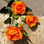 Asztalterítő bézs jacquard - mogyoró színű indás