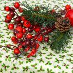 Karácsonyi asztalterítő - apró fenyőmintás