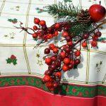 Karácsonyi asztalterítő - fehér alapon bordűrös