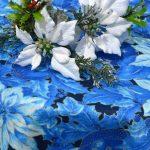 Karácsonyi asztalterítő - kék színű gömbök