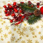 Karácsonyi asztalterítő - aranycsillagos