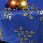 Kék színű karácsonyi terítő - arany fagyalmintás